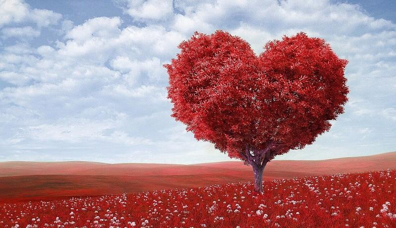 赤い木ハート